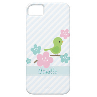 Green Bird and Cherry Flowers iPhone SE/5/5s Case