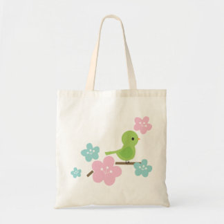 Green Bird and Cherry Flowers Tote Bag