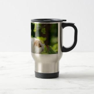 green bird and guinea pig in has spring garden travel mug
