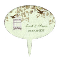 green bird cage, birds personalized cake picks