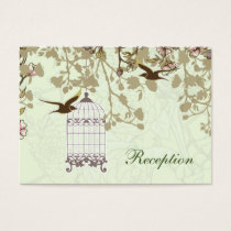 green bird cage, birds wedding reception cards