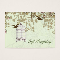 green bird cage, love birds Gift registry  Cards