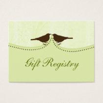 green bird cage, love birds Gift registry  Cards