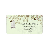 green bird cage, love birds return address labels