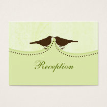 green bird cage, love birds wedding reception card