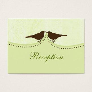 green bird cage, love birds wedding reception card