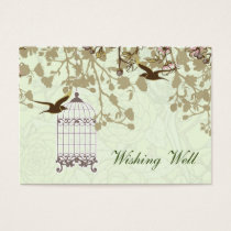 green bird cage, love birds wishing well cards