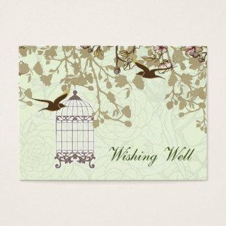 green bird cage, love birds wishing well cards