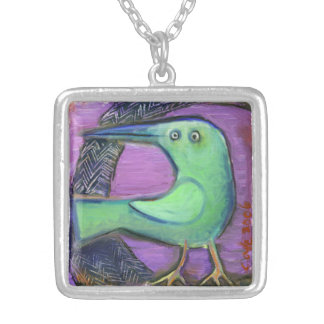 Green Bird charm Square Pendant Necklace