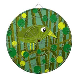 Green bird dartboard with darts
