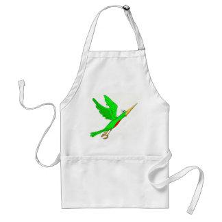 green bird flying adult apron