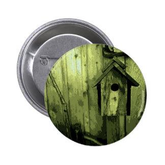 Green Bird House Pinback Button