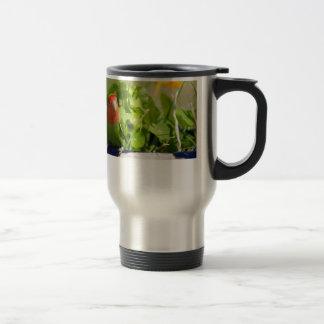 Green bird in has spring garden travel mug