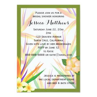 Green Bird of Paradise Bridal Shower Wedding 4.5x6.25 Paper Invitation Card