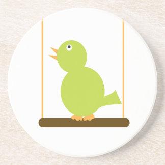 Green Bird on a Perch Coaster
