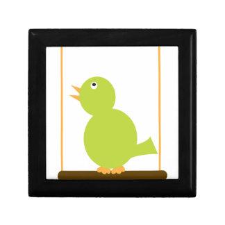 Green Bird on a Perch giftbox Keepsake Box