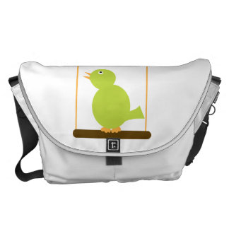Green Bird on a Perch Large Courier Bag