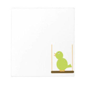 Green Bird on a Perch Notepad