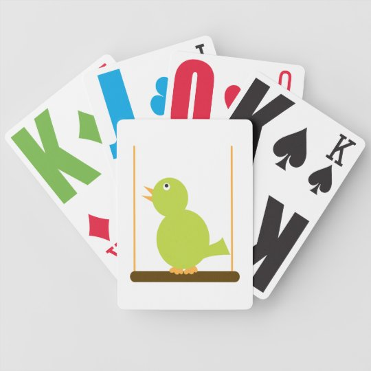 Green Bird on a Perch Playing Cards