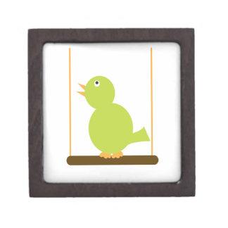 Green Bird on a Perch Premium Gift Box