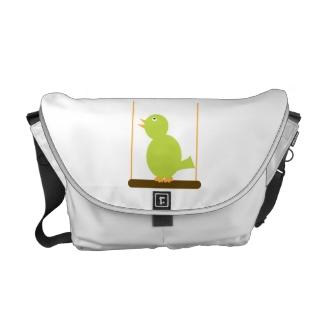 Green Bird on a Perch Rickshaw Messenger Bag