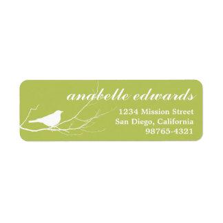 Green bird on branch modern custom return address label