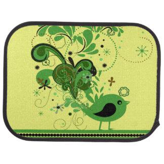 Green Bird on Yellow Car Mat