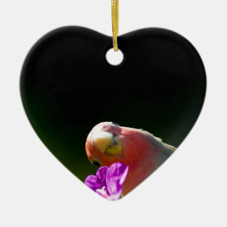 green bird Double-Sided heart ceramic christmas ornament