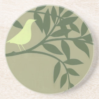 Green Bird Perched on Green Branch Drink Coasters