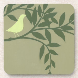 Green Bird Perched on Green Branch Beverage Coaster