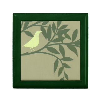 Green Bird Perched on Green Branch Gift Box