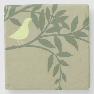 Green Bird Perched on Green Branch Stone Coaster