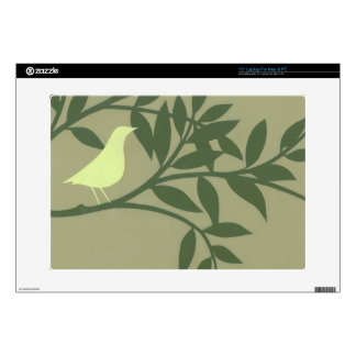 Green Bird Perched on Green Branch Laptop Skin