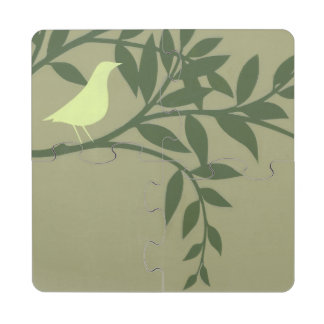 Green Bird Perched on Green Branch Puzzle Coaster
