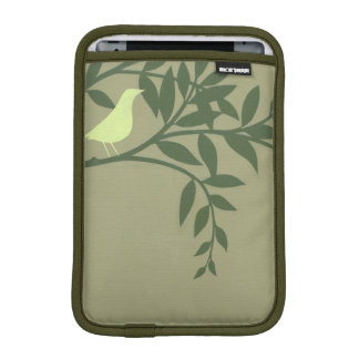 Green Bird Perched on Green Branch Sleeve For iPad Mini
