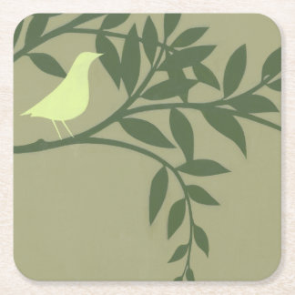 Green Bird Perched on Green Branch Square Paper Coaster