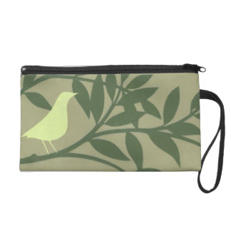 Green Bird Perched on Green Branch Wristlet