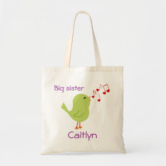 Green Bird Personalized Big Sister Tote Budget Tote Bag