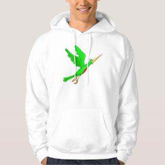Green bird taking off hoodie
