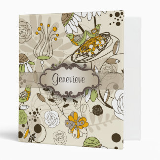 Green Birds and Flowers on Tan with Nameplate Binder