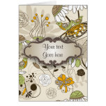 Green Birds and Flowers on Tan with Nameplate Card