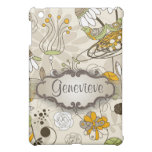 Green Birds and Flowers on Tan with Nameplate iPad Mini Case