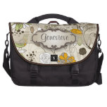 Green Birds and Flowers on Tan with Nameplate Commuter Bag