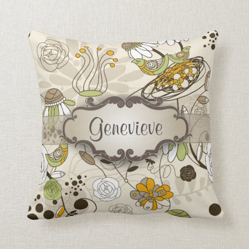 Green Birds and Flowers on Tan with Nameplate Pillows