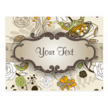 Green Birds and Flowers on Tan with Nameplate Post Card