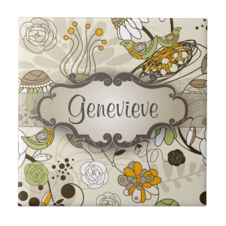 Green Birds and Flowers on Tan with Nameplate Tile