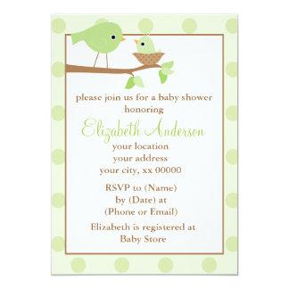 Green Birds in a Nest Baby Shower Custom Announcement