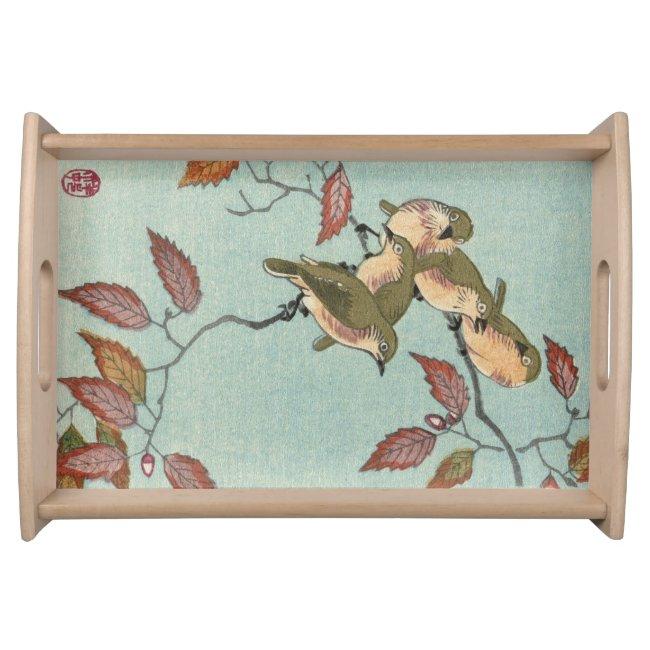 Green Birds Japanese Vintage Fine Art Serving Tray