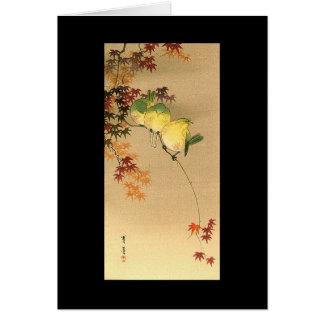 Green Birds on Maple Tree, Japanese Art c.1800s Card