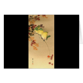 Green Birds on Maple Tree, Japanese Art c.1800s Card